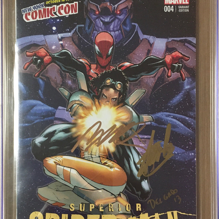 SUPERIOR SPIDER-MAN TEAM-UP #4 NYCC EXCLUSIVE SIGNED STAN LEE, RAMOS & DELGADO CGC 9.6