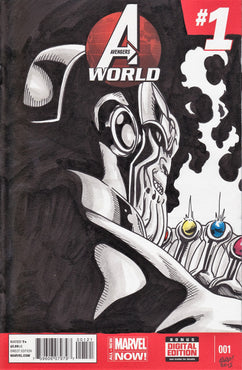 Thanos Infinity Gauntlet Original Art by Gary Parkin