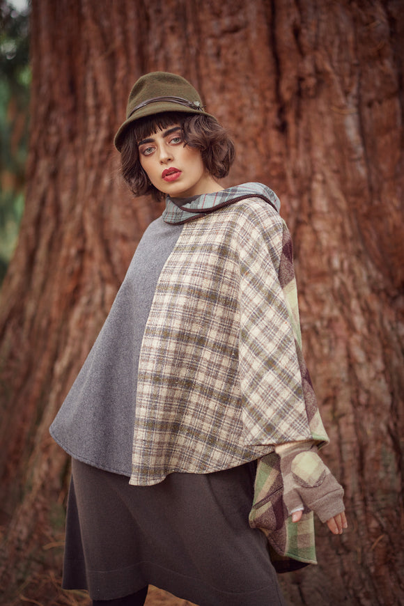 Earth & Sage Tartan Riding Cape