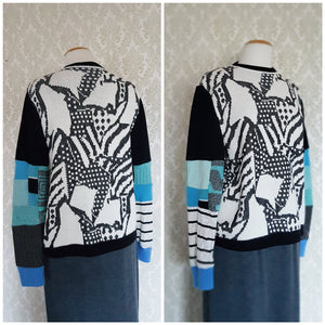 Black White+ Blue Abstract Patchwork Pullover