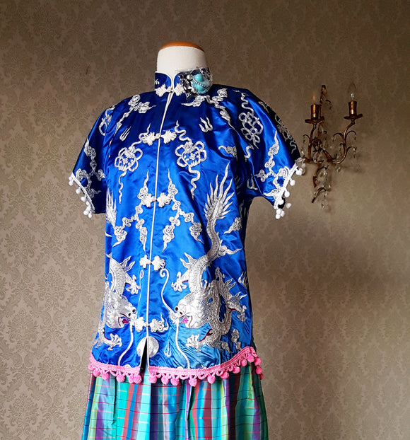 Blue Silver Dragon Mandarin Blouse