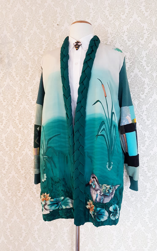 All Your Ducks in One Pond Up-cycled Sweater Jacket