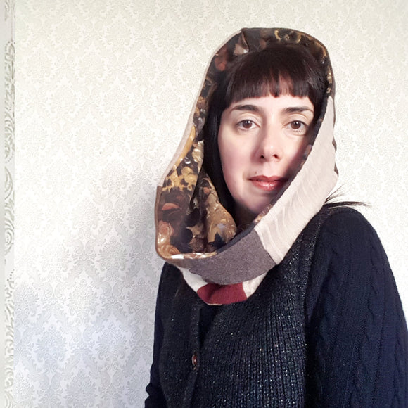 Hooded Cowl Scarf REVERSIBLE - Patchwork Version