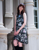 House Print Dress + Square Pockets