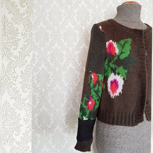 Olive Floral Abstract Patchwork Cardigan