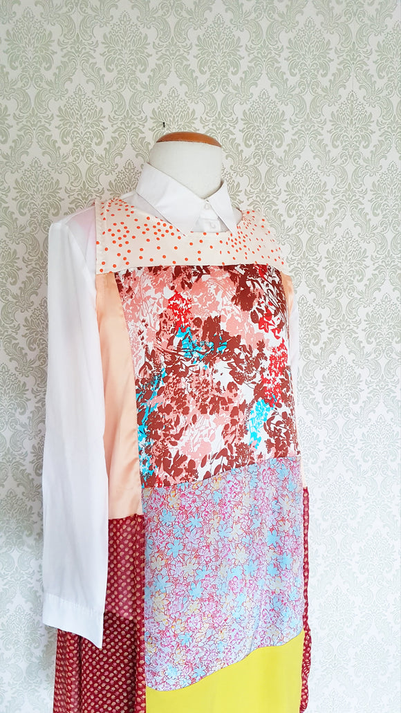Peach Floral Patchwork Dress