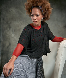 Perforated Black Box Blouse