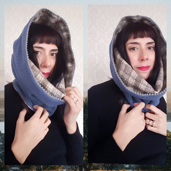 Hooded Cowl Scarf REVERSIBLE - Many Color Options