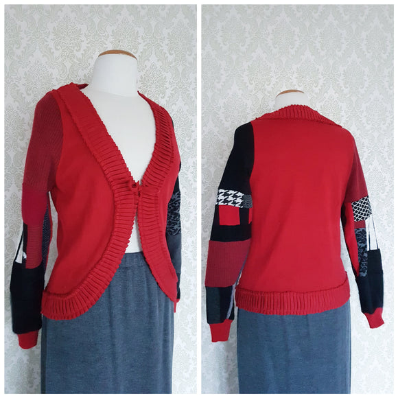 Red Patchwork Cardigan
