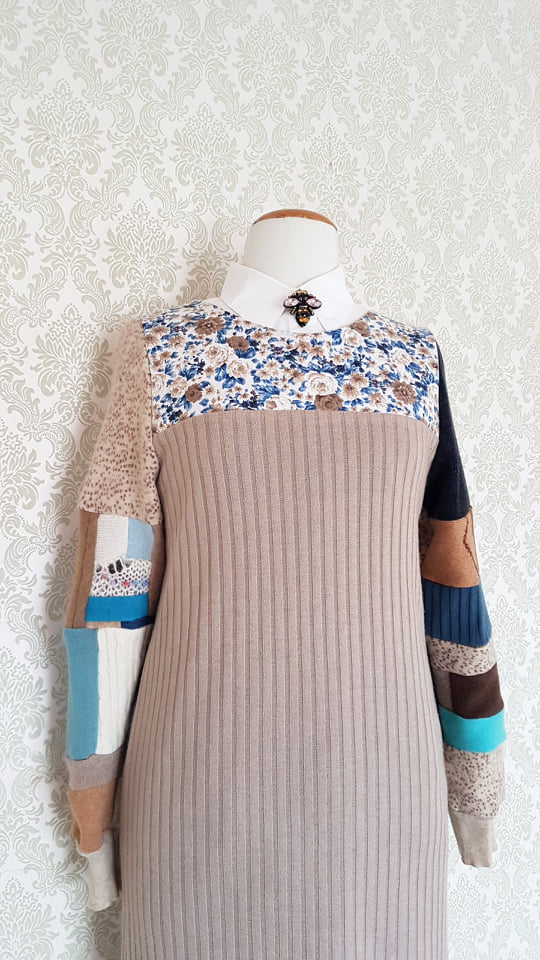 Sweater Shift Dress - Blue Floral Patchwork