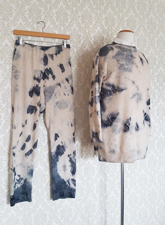 Tie Dyed Pullover + Pants Set - Oatmeal & Charcoal
