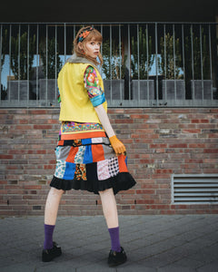 Rainbow Up-cycled Vintage Patchwork Skirt