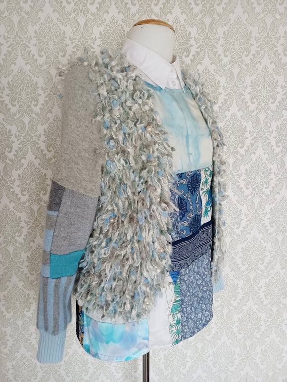 Powder Blues Fringe Patchwork Cardigan