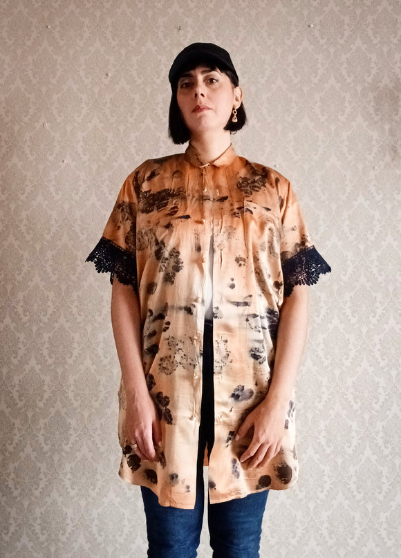 Firey Sky Upcycled Eco Print Silk Shirtdress