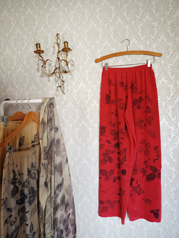 Red Rose Eco Printed Vintage Silk Pants