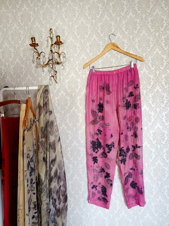 Raspberry Rose Eco Printed Vintage Silk Pants