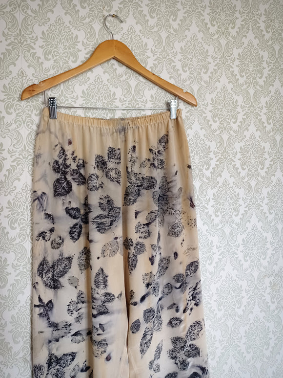 Natural Eco Printed Vintage Silk Pants