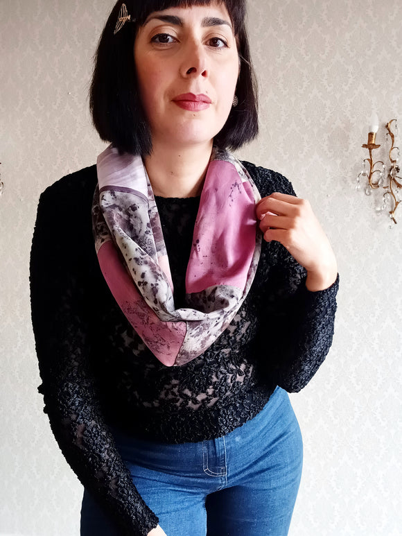 Loop Scarf Upcycled Eco Printed - Raspberry Leaf