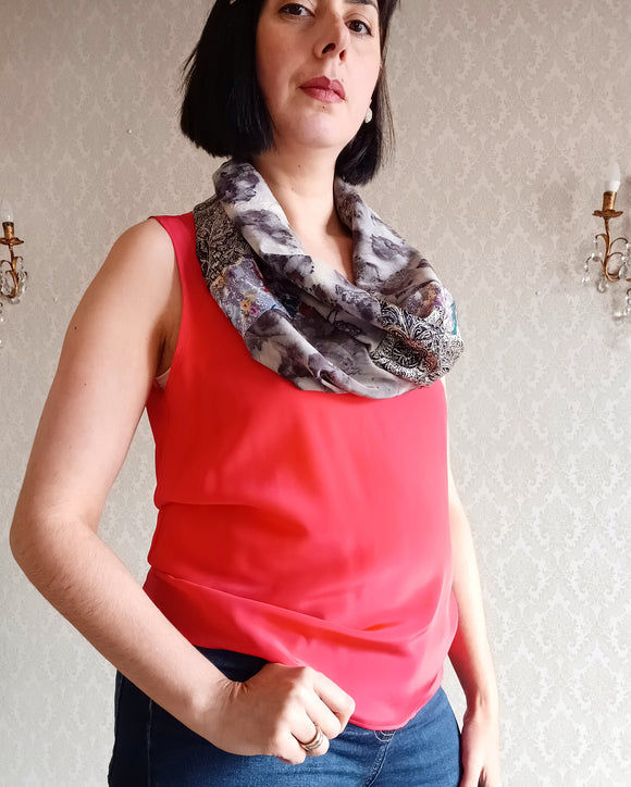 Loop Scarf Upcycled Eco Printed - Charcoal Rose