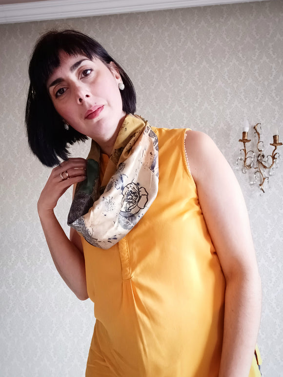 Loop Scarf Upcycled Eco Printed - Golden