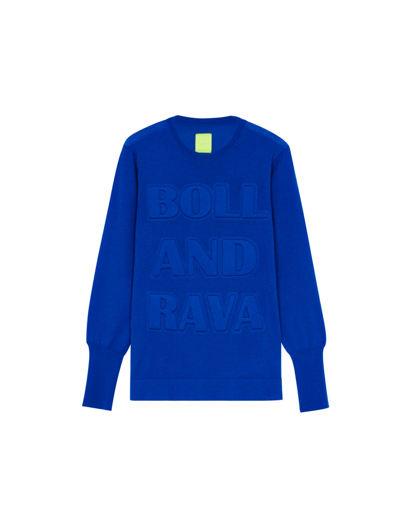 CASHMERE SWEATER 3D EFFECT ROYAL BLUE