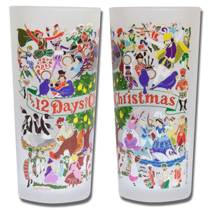 12 Days of Christmas Drinking Glass - catstudio