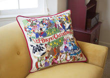 Load image into Gallery viewer, 12 Days of Christmas Hand-Embroidered Pillow - catstudio
