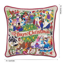 Load image into Gallery viewer, 12 Days of Christmas XL Hand-Embroidered Pillow - catstudio