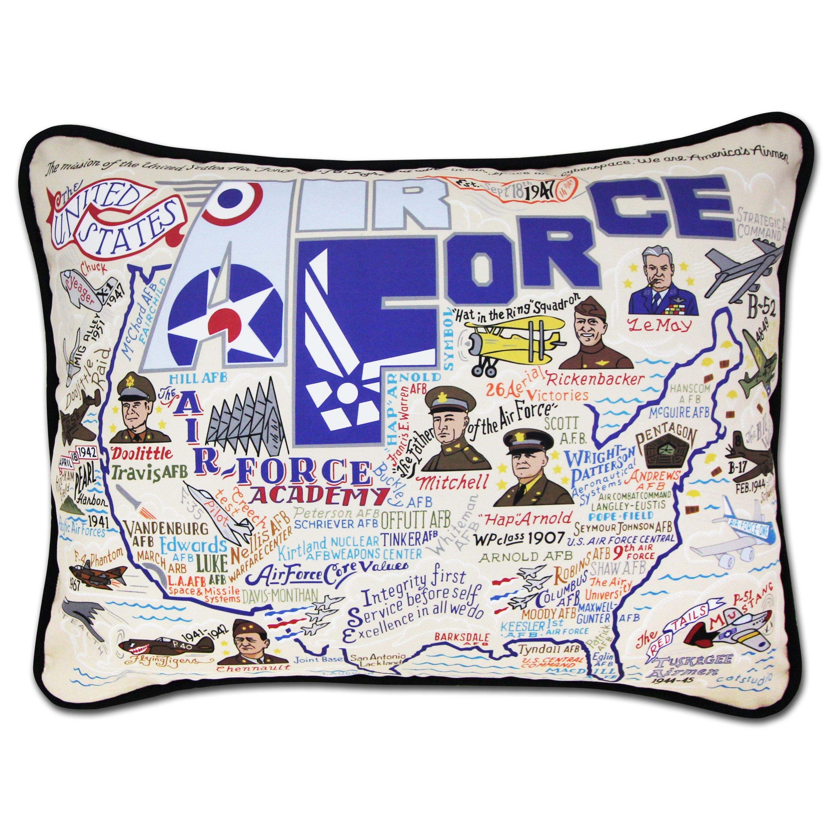 AIR FORCE PRINT with USA FLAG PILLOW