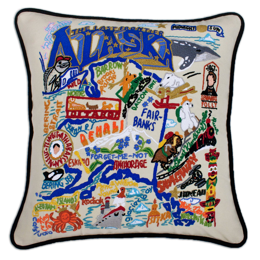 Alaska Hand-Embroidered Pillow - catstudio