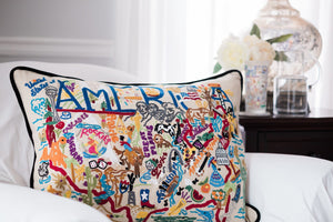 America Hand-Embroidered Pillow - catstudio