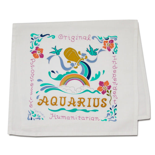 Aquarius Astrology Dish Towel Dish Towel catstudio