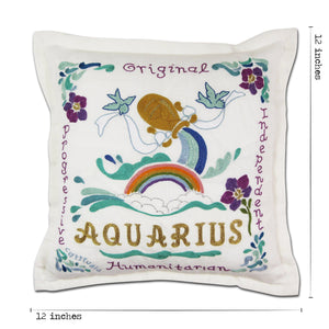 Aquarius Astrology Hand-Embroidered Pillow Pillow catstudio