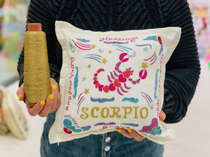 Aquarius Astrology Hand-Embroidered Pillow - catstudio
