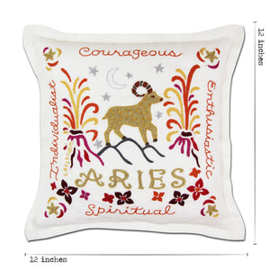 Aries Astrology Hand-Embroidered Pillow Pillow catstudio