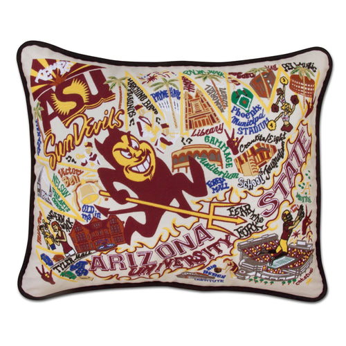 Arizona State University Collegiate Embroidered Pillow - catstudio
