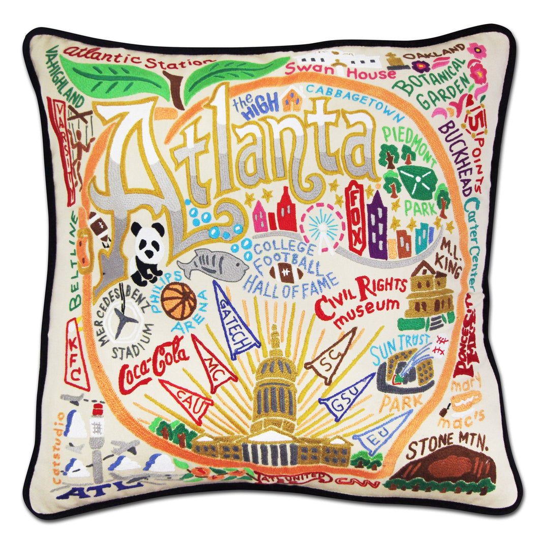 Atlanta XL Hand-Embroidered Pillow - catstudio