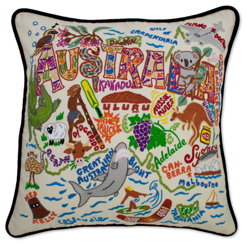 Australia Hand-Embroidered Pillow - catstudio
