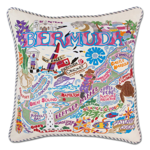 Bermuda Hand-Embroidered Pillow - catstudio