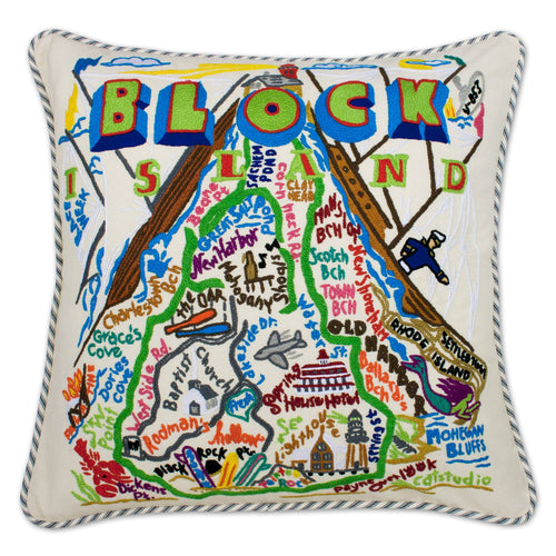 Block Island Hand-Embroidered Pillow - catstudio