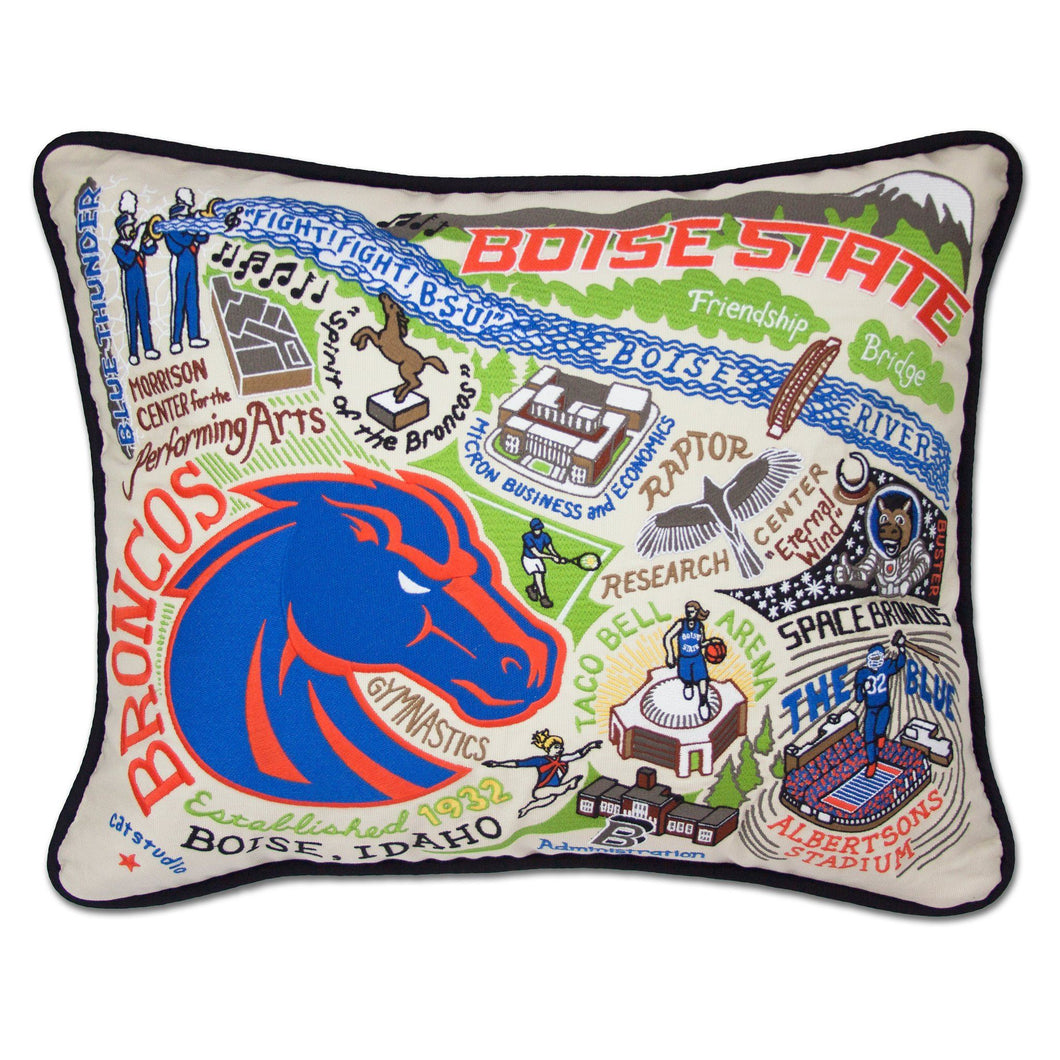 Boise State University Collegiate Embroidered Pillow - catstudio