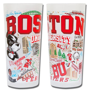 Boston University Collegiate Drinking Glass - catstudio