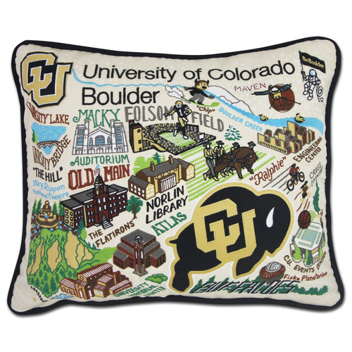 Boulder, University of Colorado Collegiate Embroidered Pillow Pillow catstudio