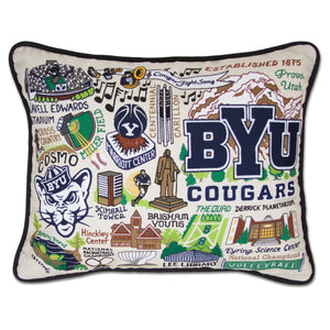 Brigham Young University (BYU) Collegiate Embroidered Pillow - catstudio
