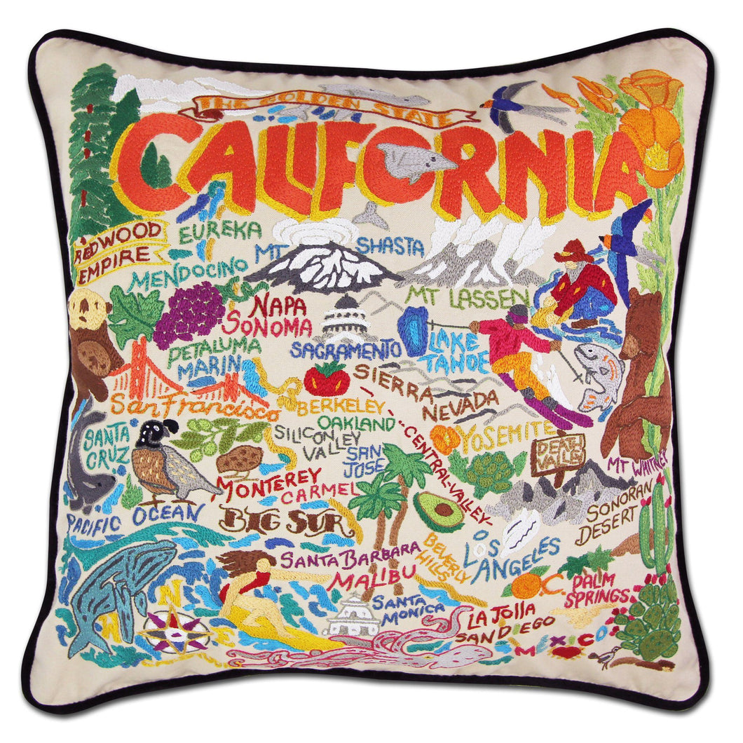 California Hand-Embroidered Pillow Pillow catstudio