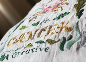 Cancer Astrology Hand-Embroidered Pillow - catstudio