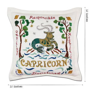 Capricorn Astrology Hand-Embroidered Pillow Pillow catstudio