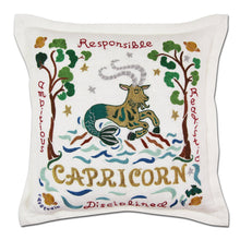 Load image into Gallery viewer, Capricorn Astrology Hand-Embroidered Pillow - catstudio