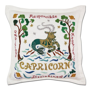 Capricorn Astrology Hand-Embroidered Pillow - catstudio