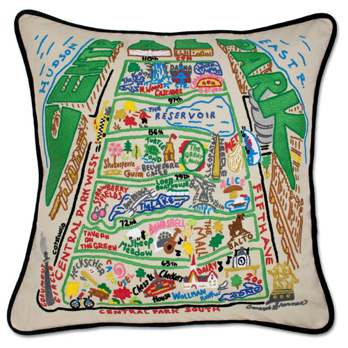 Central Park Hand-Embroidered Pillow - catstudio